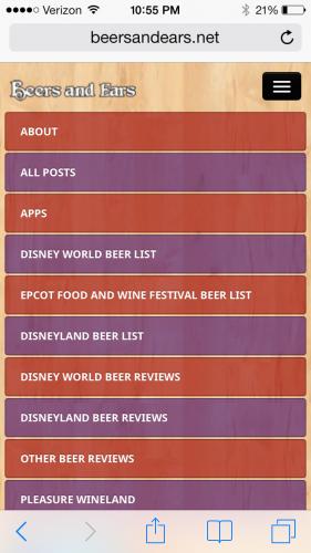Beers and Ears 4.0 iPhone menu